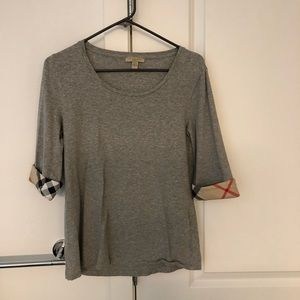 Burberry T-shirt with check printed sleeve cuff